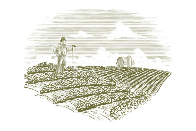 Woodcut Farmer in the Field
