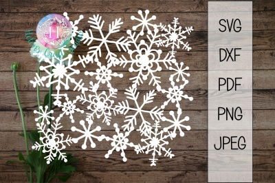 Snow scrapbook SVG, DXF, png, jpeg and PDF file, christmas cutting fil