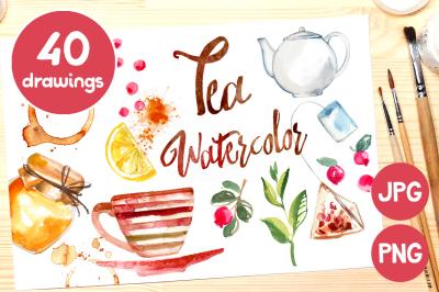 Tea. Watercolor