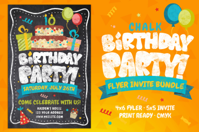 Chalk Birthday Party Flyer Bundle