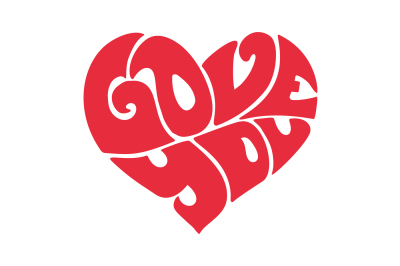 Love you red heart letters