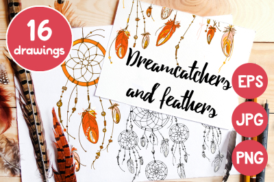 Dreamcatchers and feathers
