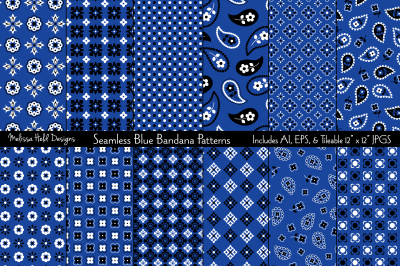 Seamless Blue Bandana Patterns