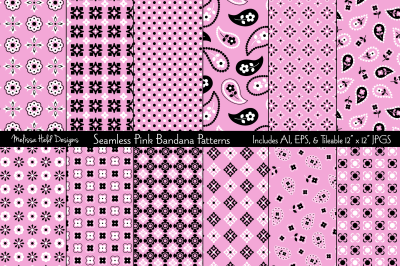 Seamless Pink Bandana Patterns