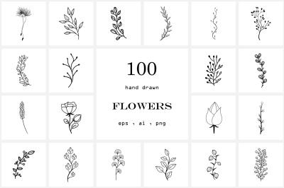 100 Hand Drawn Flowers