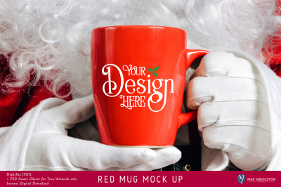 Christmas Mock Up - Red Mug with Santa's hands