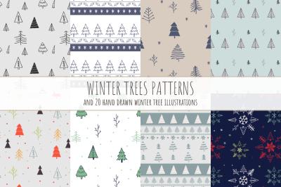 Winter Trees Patterns & Hand Drawn Illustrations