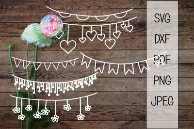 Bunting SVG, DXF, png, jpeg and PDF cutting file