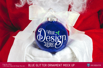 Christmas Mock up - Santa's Blue Glitter Ornament