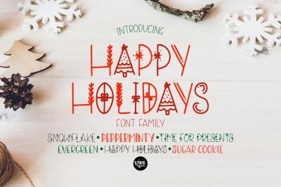 Happy Holidays Christmas Font Family Bundle