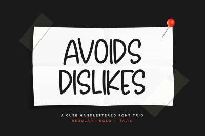 Avoids Dislikes | 3 Handmade Font