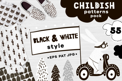 Childish B&W patterns pack