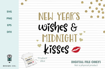 New year's wishes and midnight kisses - SVG file
