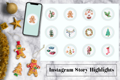 Christmas Watercolor Instagram Icons