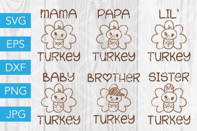 Thanksgiving Turkey Family SVG DXF EPS JPG Cut File Cricut Silhouette