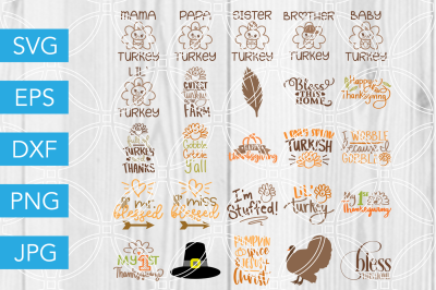 Thanksgiving Bundle SVG DXF EPS JPG Cut File Cricut Silhouette Cameo