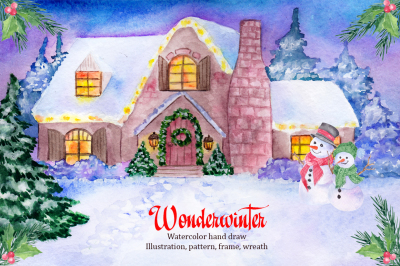 Wonder winter. Watercolor clipart
