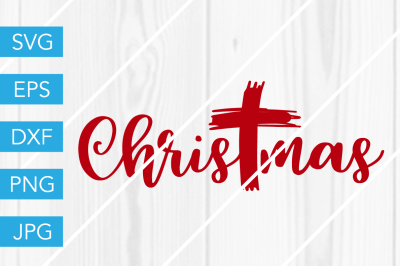 Christmas Cross SVG DXF EPS JPG Cut File Cricut Silhouette Cameo