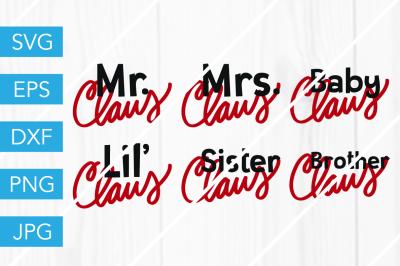 Claus Family Christmas SantaSVG DXF EPS JPG Cut File Cricut