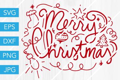 Merry ChristmasSVG DXF EPS JPG Cut File Cricut Silhouette Cameo