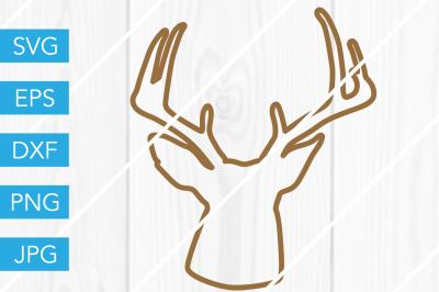 Deer Head Outline Silhouette SVG DXF EPS JPG Cut File Cricut Cameo
