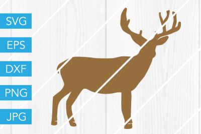Deer Buck Silhouette SVG DXF EPS JPG Cut File Cricut Silhouette Cameo
