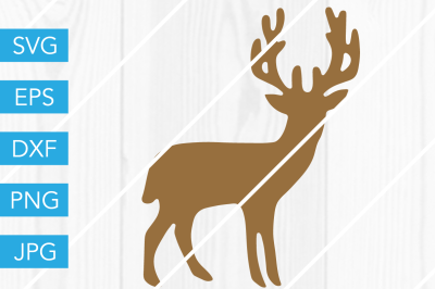 Stag Buck Silhouette Deer SVG DXF EPS JPG Cut File Cricut