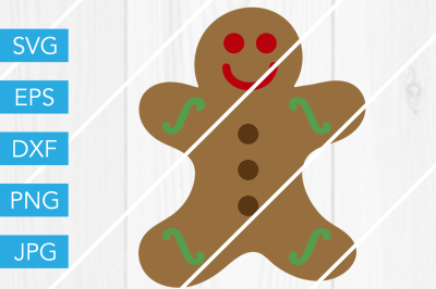Gingerbread Man SVG DXF EPS JPG Cut File Cricut Silhouette Cameo