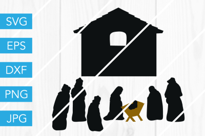 Nativity Set Christmas SVG DXF EPS JPG Cut File Cricut Silhouette