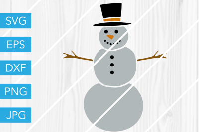 Snowman Christmas Winter SVG DXF EPS JPG Cut File Cricut Silhouette