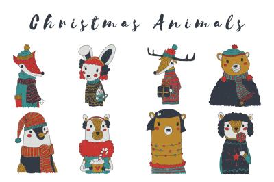 Kiddie Vector Christmas Animals Set