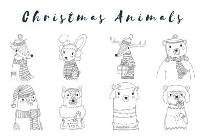 Vector Christmas Animals Outline Set