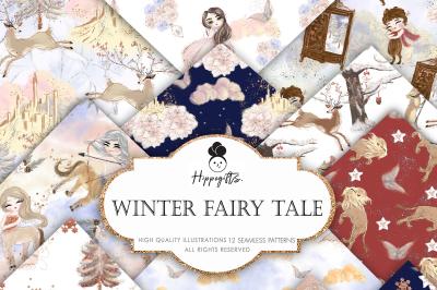 Winter Fairy Tale Digital Paper, Winter Unicorn Christmas Pattern