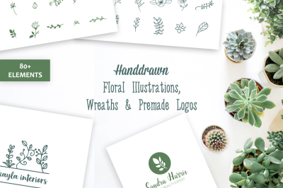 Hand drawn Floral Illustrations, Wreaths & Premade Logos