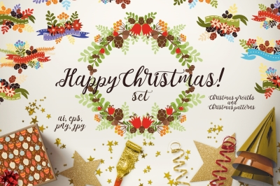 Christmas set wreaths/patterns