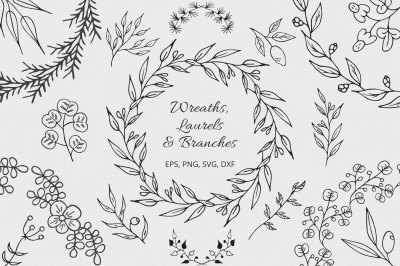 Hand Drawn Wreaths, Laurels and Branches Collection