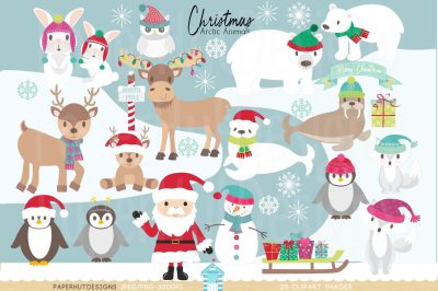 Christmas Arctic Animals Clipart