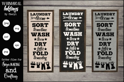 Sort Wash Dry Fold Laundry Room SVG