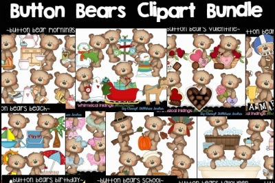 Giant Button Bear All Occasion HUGE  Clipart Bundle
