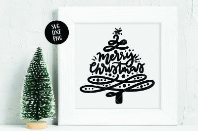 Merry Christmas Hand Lettered Tree Flourish SVG DXF PNG