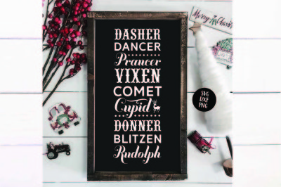 Reindeer Names Farmhouse Christmas SVG DXF PNG
