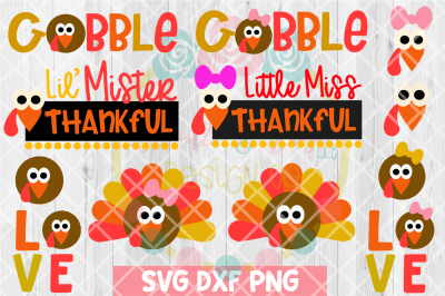 Thanksgiving Kids Turkey Bundle SVG DXF PNG 12 Cutting Files