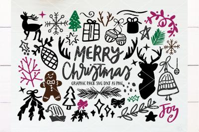 Merry Christmas Hand Drawn Graphics Pack SVG DXF AI PNG