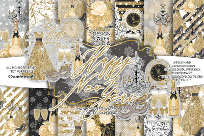 Happy New Year Gold digital paper pack