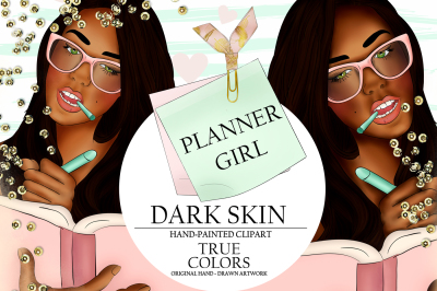 Dark Skin Planner Girl Clip Art / Fashion Illustration