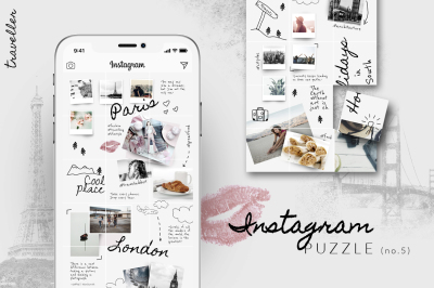 Instagram PUZZLE template - Traveller