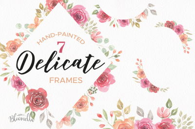 Watercolour Floral Roses Clipart Flowers Delicate Wedding Pink Red