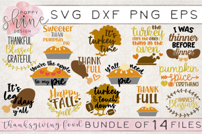Thanksgiving Food Bundle of 14 SVG PNG EPS DXF Cutting Files