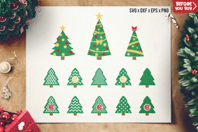Christmas Tree SVG Cut Files - Christmas Monogram Frame SVG