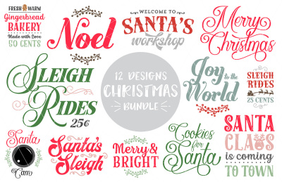 Christmas Quotes SVG DXF PNG Bundle - 12 Designs!